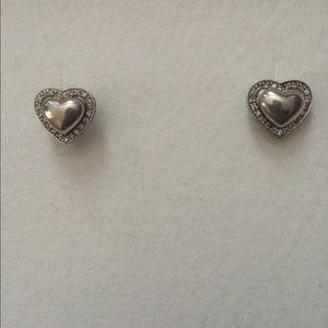 Jewelry - Sterling Silver .925 Heart Crystal earrings